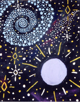 Swirling Stars and Orb, By Marilynn Hughes